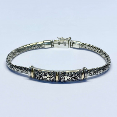 BR 14494-(HANDMADE 925 BALI SILVER BRACELET WITH 18K GOLD ACCENT)