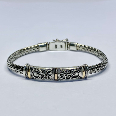 BR 14486 A-(HANDMADE 925 BALI SILVER BRACELET WITH 18K GOLD ACCENT)