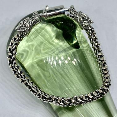 BR 14635 A-(6 MM Vintage 925 Sterling Silver Bali Dragon Skin Chain Bracelet 20 cm LONG)