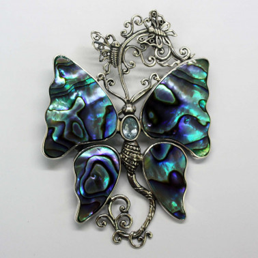 PD 10513 AB-BT-(HANDMADE 925 BALI SILVER BUTTERFLY BROOCH PENDANT WITH ABALONE TOPAZ)
