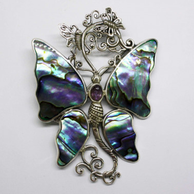 PD 10513 AB-AM-(HANDMADE 925 BALI SILVER BUTTERFLY BROOCH PENDANT WITH ABALONE AMETHYST)
