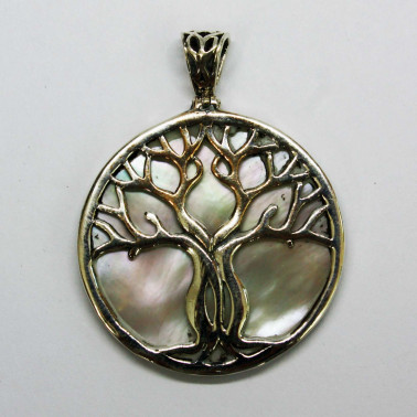 PD 11282 MP-(HANDMADE 925 BALI SILVER TREE OF LIFE PENDANT WITH MOP SHELL