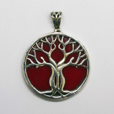 PD 11282 CR-(HANDMADE 925 BALI SILVER TREE OF LIFE PENDANT WITH CORAL)
