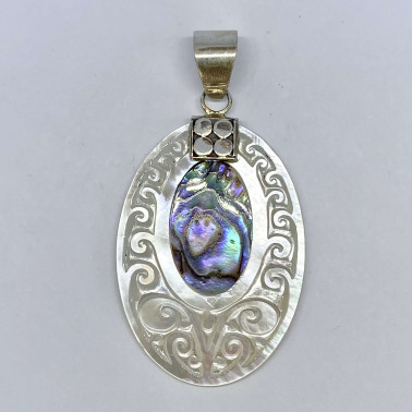 PD 10539 AB-(925 BALI SILVER HAND CARVING SHELL PENDANT WITH ABALONE)