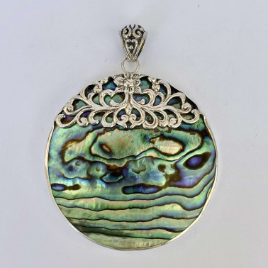 PD 13768 AB-(HANDMADE 925 BALI SILVER PENDANT WITH ABALONE)