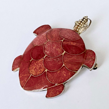 PD 05326 CR-(LARGE  925 BALI SILVER TURTLE BROOCH PENDANT WITH CORAL)