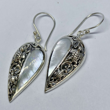 ER 14715 MP-( HANDMADE 925 BALI SILVER TURTLE EARRINGS WITH MOP )