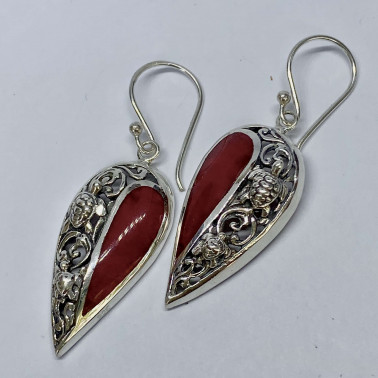 ER 14715 CR-( HANDMADE 925 BALI SILVER TURTLE EARRINGS WITH CORAL )