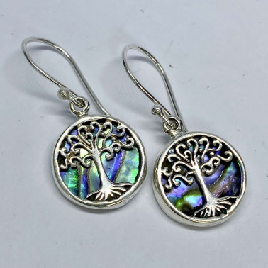 ER 11282 AB-(BALI 925 STERLING SILVER TREE OF LIFE EARRINGS WITH ABALONE)