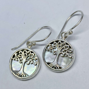 ER 11282 MP-(BALI 925 STERLING SILVER TREE OF LIFE EARRINGS WITH MOP)