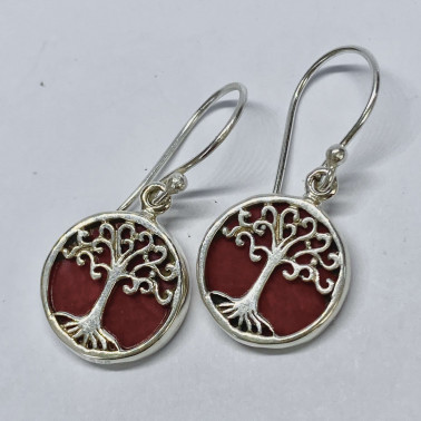 ER 11282 CR-(BALI 925 STERLING SILVER TREE OF LIFE EARRINGS WITH CORAL)