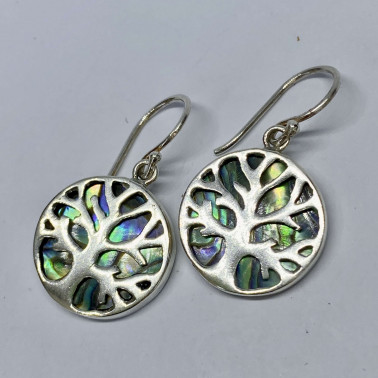 ER 11282 A-AB-(BALI 925 STERLING SILVER TREE OF LIFE EARRINGS WITH ABALONE)