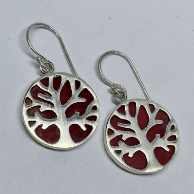 ER 11282 A-CR-(BALI 925 STERLING SILVER TREE OF LIFE EARRINGS WITH CORAL)