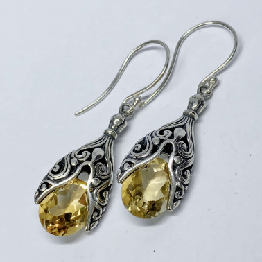 ER 14193 CT-(HANDMADE 925 BALI SILVER EARRINGS WITH CITRINE)
