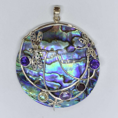 PD 13868 AB-MX-( HANDMADE 925 BALI SILVER DRAGONFLY PENDANT WITH ABALONE AND MIX STONE)