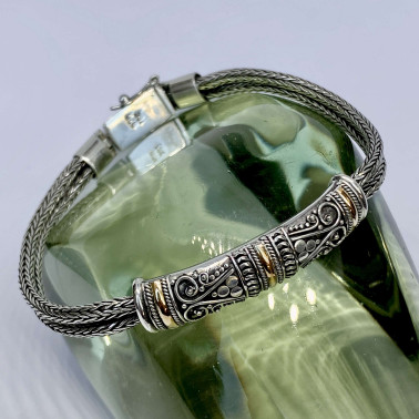BR 14494 B-(HANDMADE 925 BALI SILVER DOUBLE CHAIN BRACELET WITH 18K GOLD ACCENT)