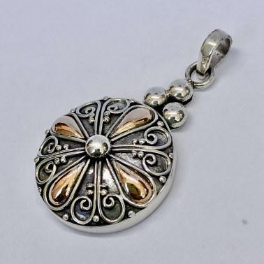 PD 14165-(HANDMADE 925 BALI SILVER PENDANT WITH 18KT GOLD ACCENT)
