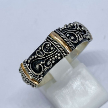 RR 12309-(HANDMADE 925 BALI SILVER RINGS WITH 18KT GOLD ACCENT)