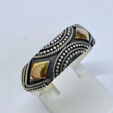 RR 13328-(HANDMADE 925 BALI SILVER RINGS WITH 18KT GOLD ACCENT)