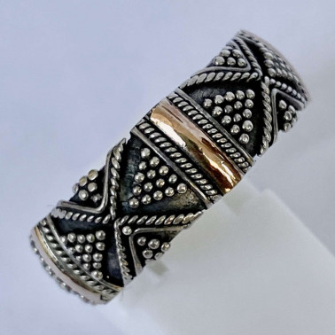 RR 14013 B-(HANDMADE 925 BALI SILVER RINGS WITH 18KT GOLD ACCENT)
