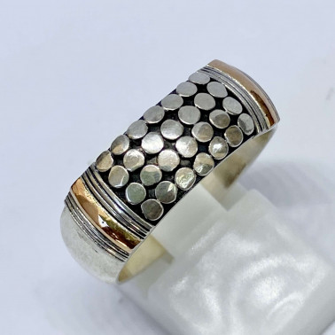 RR 12349-(HANDMADE 925 BALI SILVER RINGS WITH 18KT GOLD ACCENT)