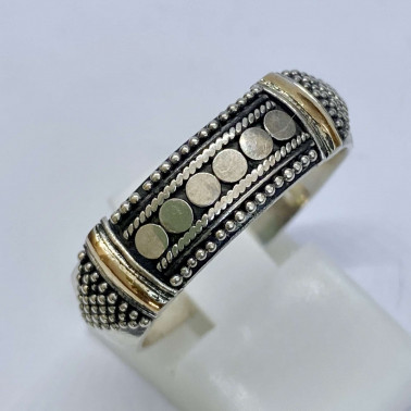 RR 12307-(HANDMADE 925 BALI SILVER RINGS WITH 18KT GOLD ACCENT)