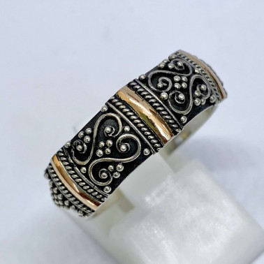 RR 14485-(HANDMADE 925 BALI SILVER RINGS WITH 18KT GOLD ACCENT)