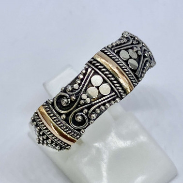 RR 14560-(HANDMADE 925 BALI SILVER RINGS WITH 18KT GOLD ACCENT)