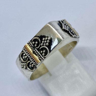 RR 14691-(HANDMADE 925 BALI SILVER RINGS WITH 18KT GOLD ACCENT)