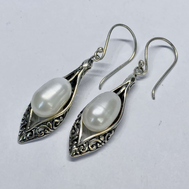 ER 14532 PL-(HANDMADE BALI 925  SILVER EARRINGS WITH PEARL)
