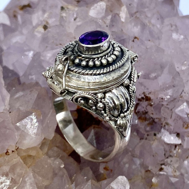 RR 14596 AM-(HANDMADE 925 BALI STERLING SILVER POISON RING WITH AMETHYST)