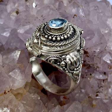 RR 14596 BT-(HANDMADE 925 BALI STERLING SILVER POISON RING WITH BLUE TOPAZ)
