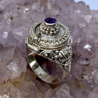 RR 13767 AM-(HANDMADE 925 BALI STERLING SILVER POISON RING WITH AMETHYST)