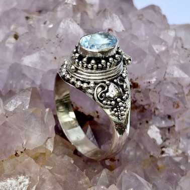 RR 13762 BT-(HANDMADE 925 BALI STERLING SILVER POISON RING WITH BLUE TOPAZ)
