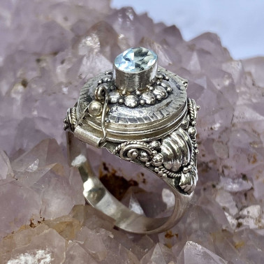 RR 13983 BT-(HANDMADE 925 BALI STERLING SILVER POISON RING WITH BLUE TOPAZ)