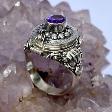 RR 13983 AM-(HANDMADE 925 BALI STERLING SILVER POISON RING WITH AMETHYST)