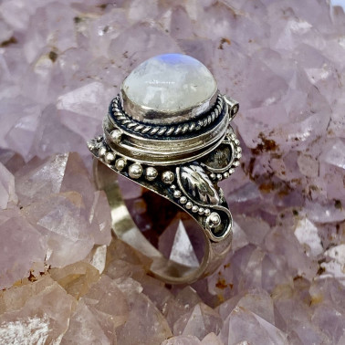RR 02013 MS-(HANDMADE 925 BALI STERLING SILVER POISON RING WITH MOONSTONE)