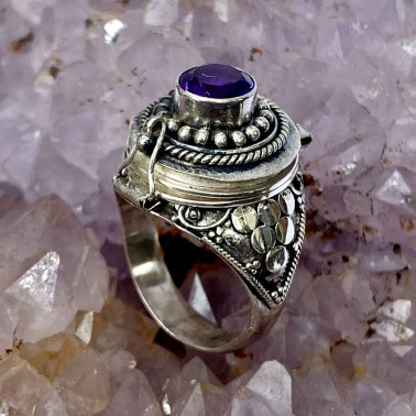 RR 13946 AM-(HANDMADE 925 BALI STERLING SILVER POISON RING WITH AMETHYST)