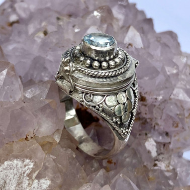 RR 13946 BT-(HANDMADE 925 BALI STERLING SILVER POISON RING WITH BLUE TOPAZ)