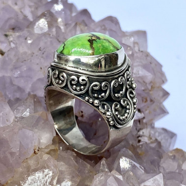 RR 11918 MV-(HANDMADE 925 BALI STERLING SILVER RINGS WITH MOJAVE GREEN TURQOUISE)