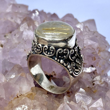 RR 11918 RL-(HANDMADE 925 BALI STERLING SILVER RINGS WITH MOJAVE GREEN TURQOUISE)