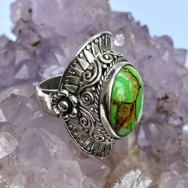 RR 14134 MV-(HANDMADE 925 BALI STERLING SILVER RINGS WITH MOJAVE GREEN TURQOUISE)