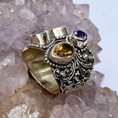 RR 14658 MX-(HANDMADE 925 BALI SILVER RINGS WITH MIX GEMSTONES)