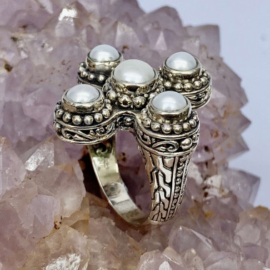 RR 14659 PL-(HANDMADE 925 BALI STERLING SILVER RINGS WITH PEARL)