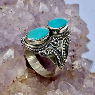 RR 14657 TQ-(HANDMADE 925 BALI STERLING SILVER RINGS WITH TURQOUISE)