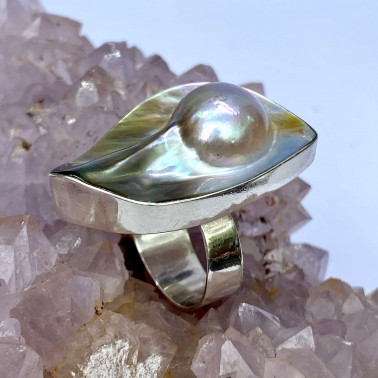 RR 14621 PL-(HANDMADE 925 BALI STERLING SILVER RINGS WITH MABE PEARL)