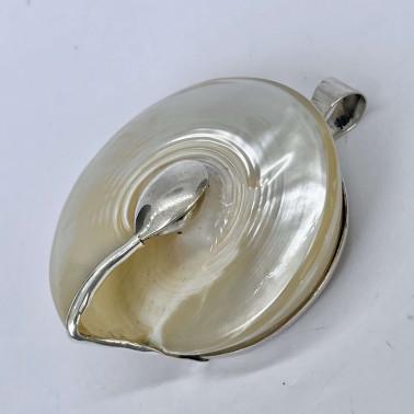 PD 08706-(HANDMADE 925 BALI STERLING SILVER HORN SHELL PENDANT)