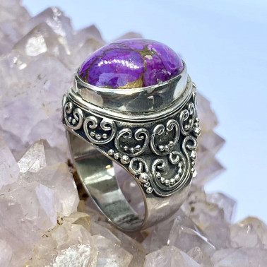 RR 11918 MV-P-(HANDMADE 925 BALI STERLING SILVER RINGS WITH MOJAVE PURPLE TURQUOISE)