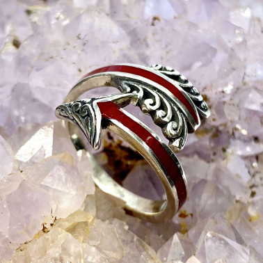 RR 14678 CR-(HANDMADE 925 BALI STERLING SILVER ARROW RINGS WITH RED CORAL)