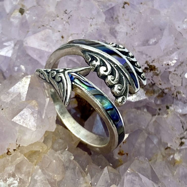 RR 14678 AB-(HANDMADE 925 BALI STERLING SILVER ARROW RING WITH ABALONE)